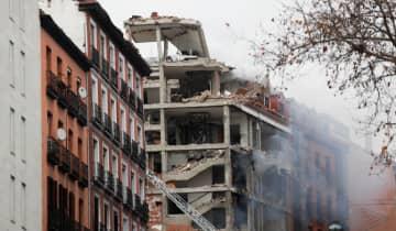 A explosão afetou completamente a fachada de um imóvel no Calle de Toledo, no bairro La Latina