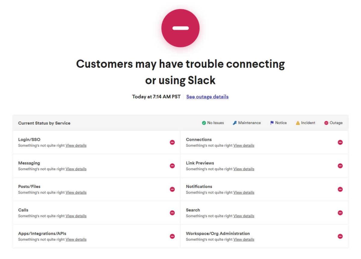 Slack amanheceu com vários serviços fora do ar nessa segunda-feira, 04. Foto: Reprodução.