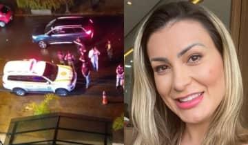 A modelo registrou o momento em que o ex-marido chega no estabelecimento acompanhado de agentes da polícia