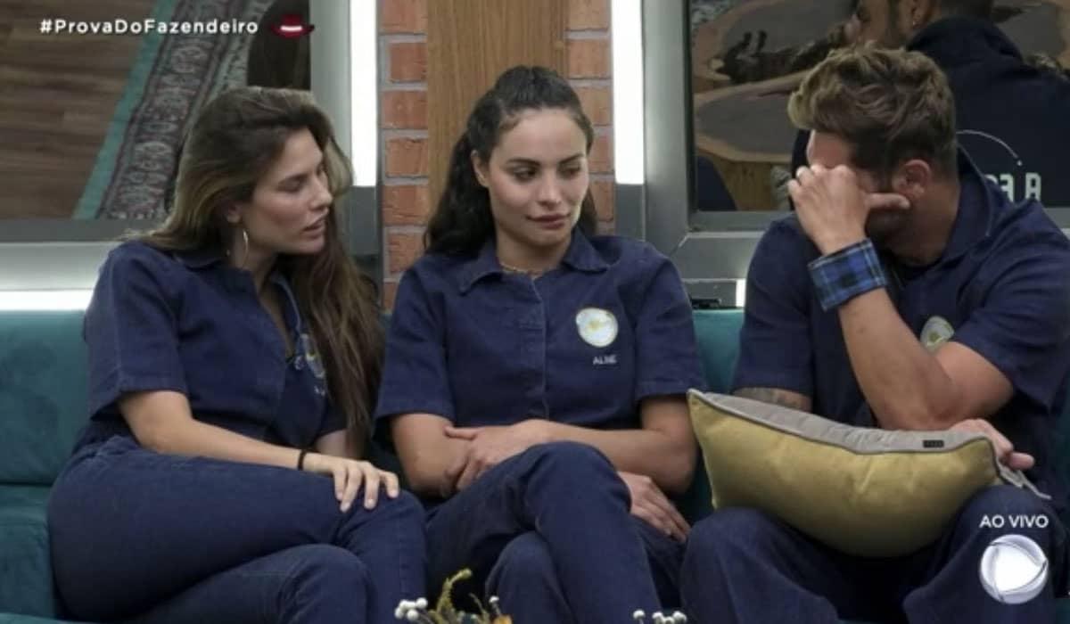 Aline Mineiro, Dayane Mello e Victor Pecoraro disputam a Prova do Fazendeiro nesta quarta-feira (13)
