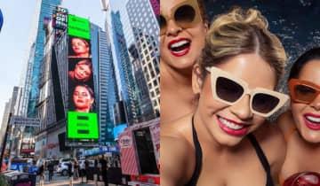 A cantora demonstrou empolgação máxima ao compartilhar a foto que mostrava As Patroas em plena Times Square