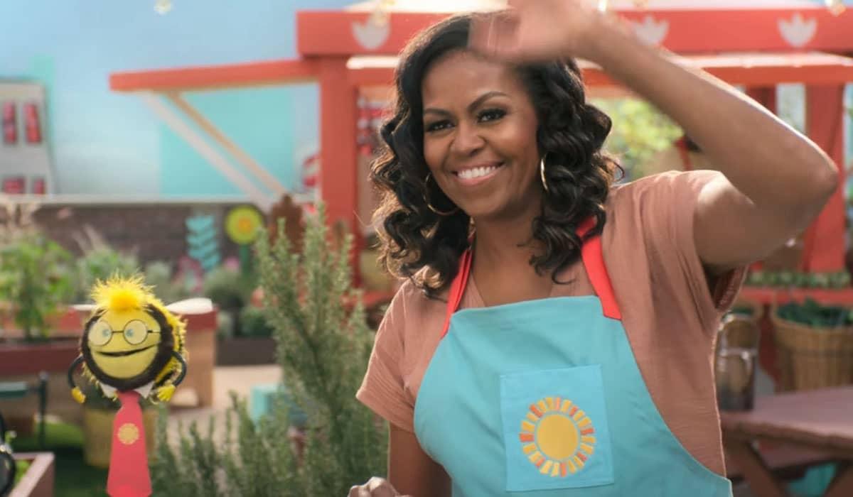 A ex-primeira dama dos EUA se junta a fantoches para apresentar e ensinar a culinária global para toda a família
