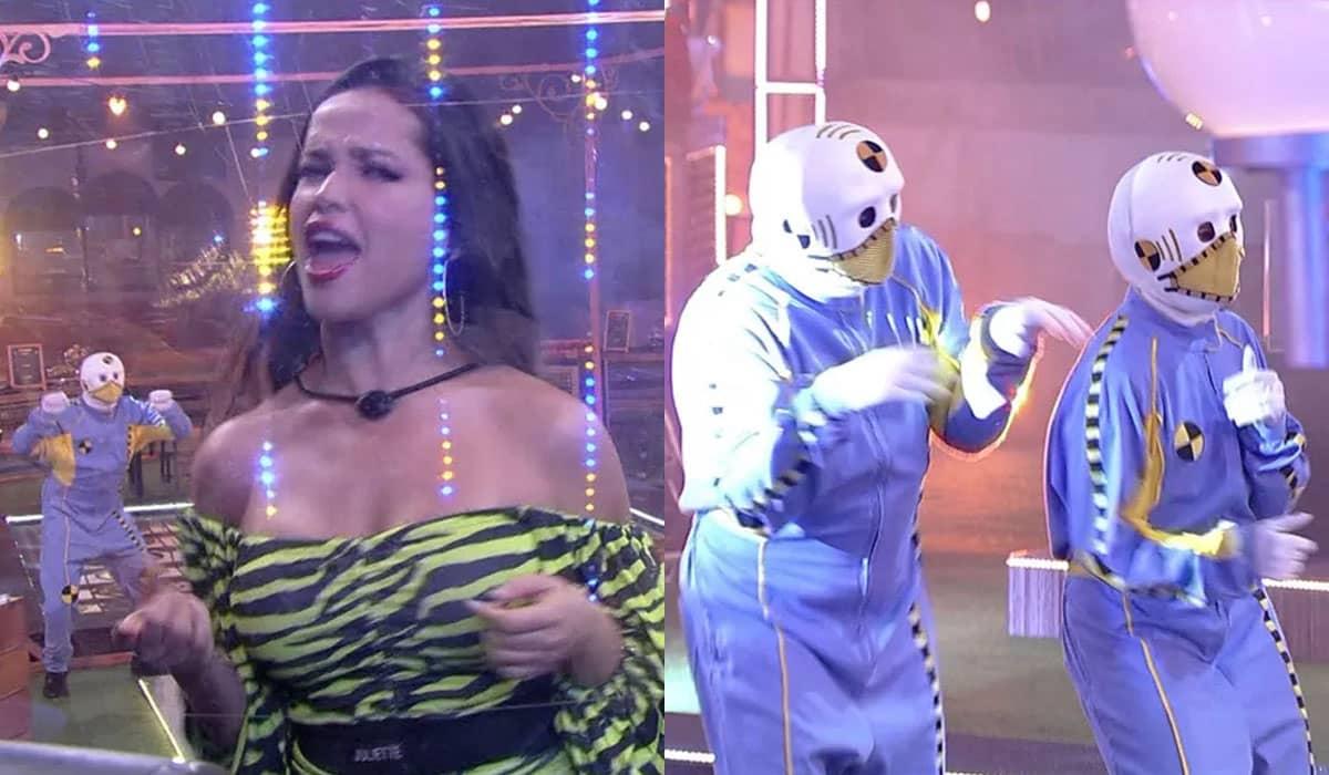 O diretor do BBB 21 invadiu a festa BBBotequim vestido de 'dummy' e intrigou os participantes