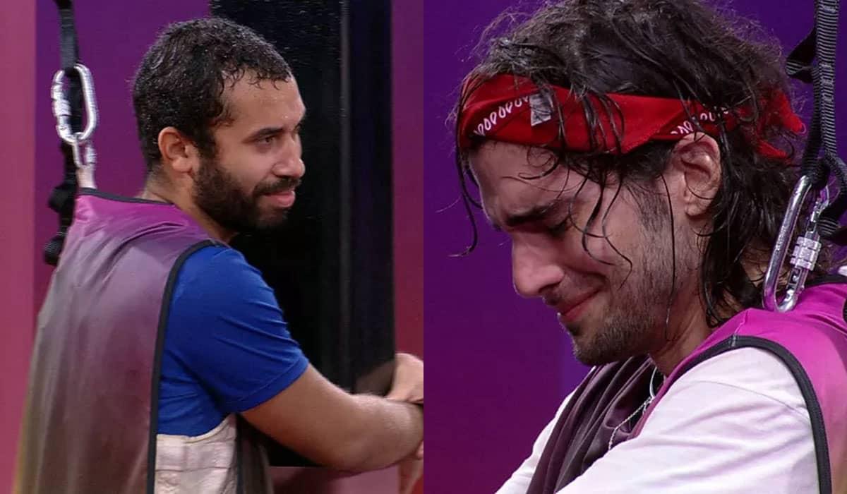 Gilberto não aguentou continuar na prova e entregou a vitória nas mãos de Fiuk