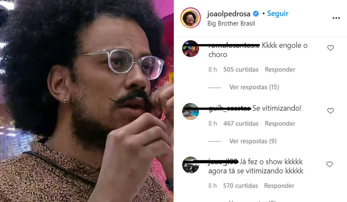 Vários internautas comentam debochadamente nas fotos de João após o embate polêmico com Rodolffo