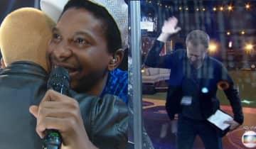 A aparição de Lucas Penteado no show de Projota surpreendeu o público e emocionou Tiago Leifert