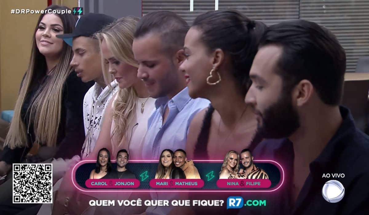 A DR desta semana está sendo disputada entre Carol Santos e Jonathan Costa, Mari Matarazzo e Matheus Yurley, e Nina Cachoeira e Filipe Duarte