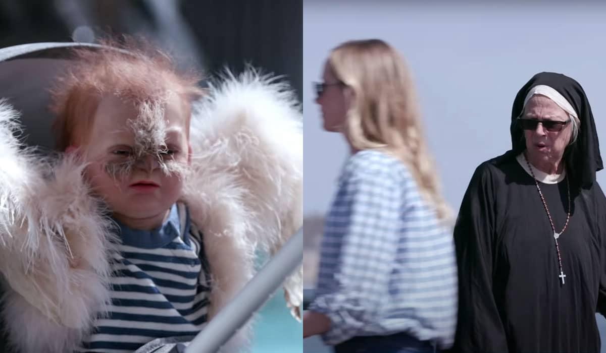 Alguns pedestres se espantam ao darem de cara com um bebê híbrido humano/coruja pelas ruas de Los Angeles
