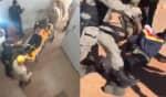Vídeos mostram o momento em que policiais carregam o corpo de Lázaro para uma ambulância e a chegada do criminoso sem vida no posto de atendimento