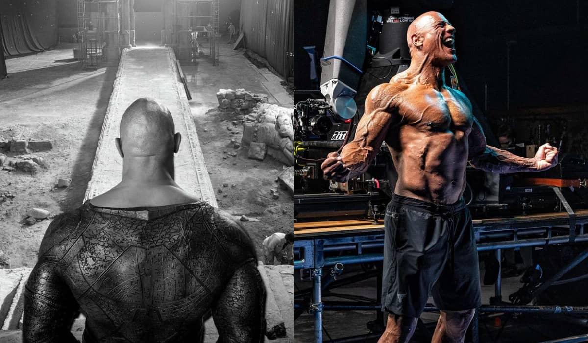 O ator revelou parte do visual de Adão Negro em uma foto dos bastidores do filme divulgada nas redes sociais