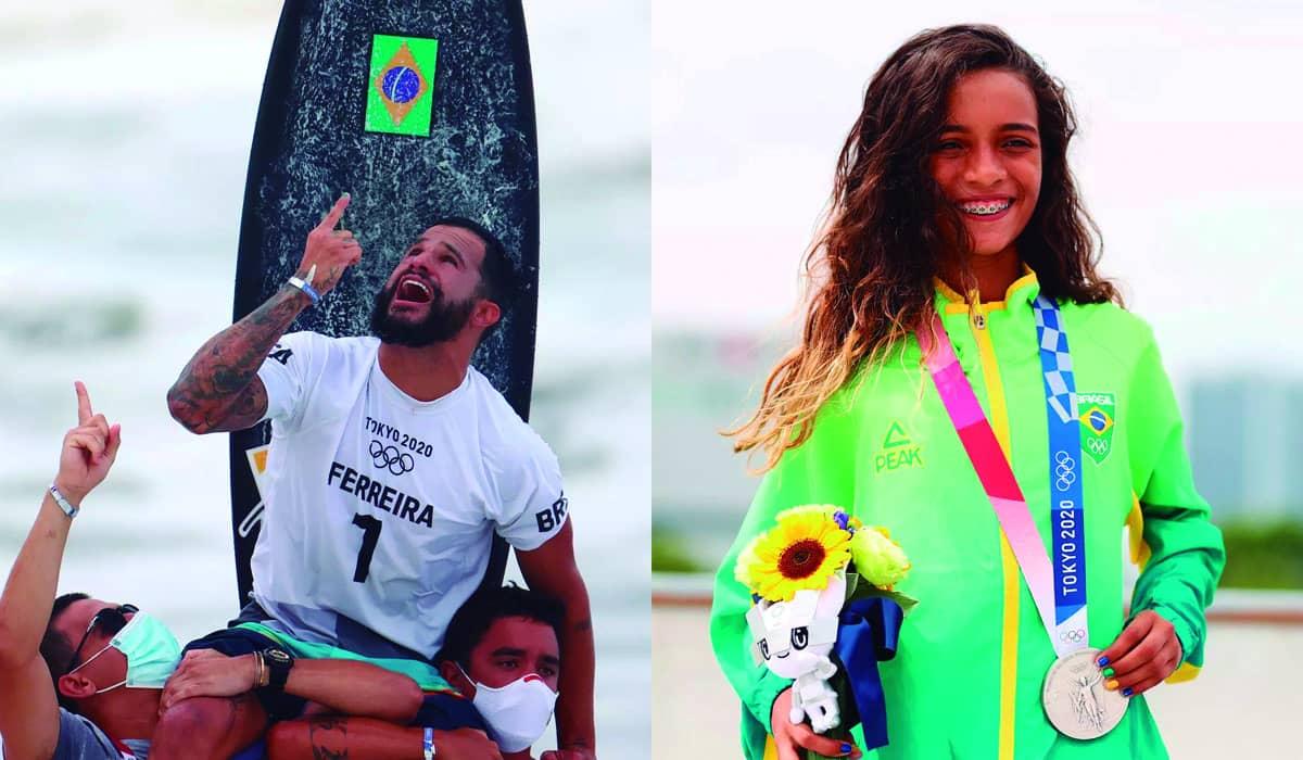O Brasil coleciona seis medalhas nos Jogos Olímpicos, no surfe, skate street, natação e judô