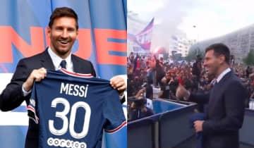 O argentino foi recebido por uma multidão eufórica no lado de fora do Parc des Princes