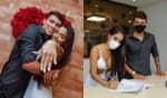 A Gêmea Lacração divulgou algumas fotos do casamento com o surfista Gabriel Farias nas redes sociais