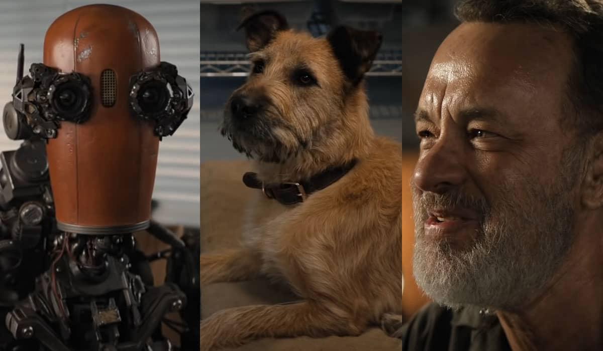 O trailer mostra a interação de Finch (Hanks) em um mundo pós-apocalíptico em que ele e seu cachorro Goodyear parecem ser os últimos sobreviventes ao lado do robô Jeff