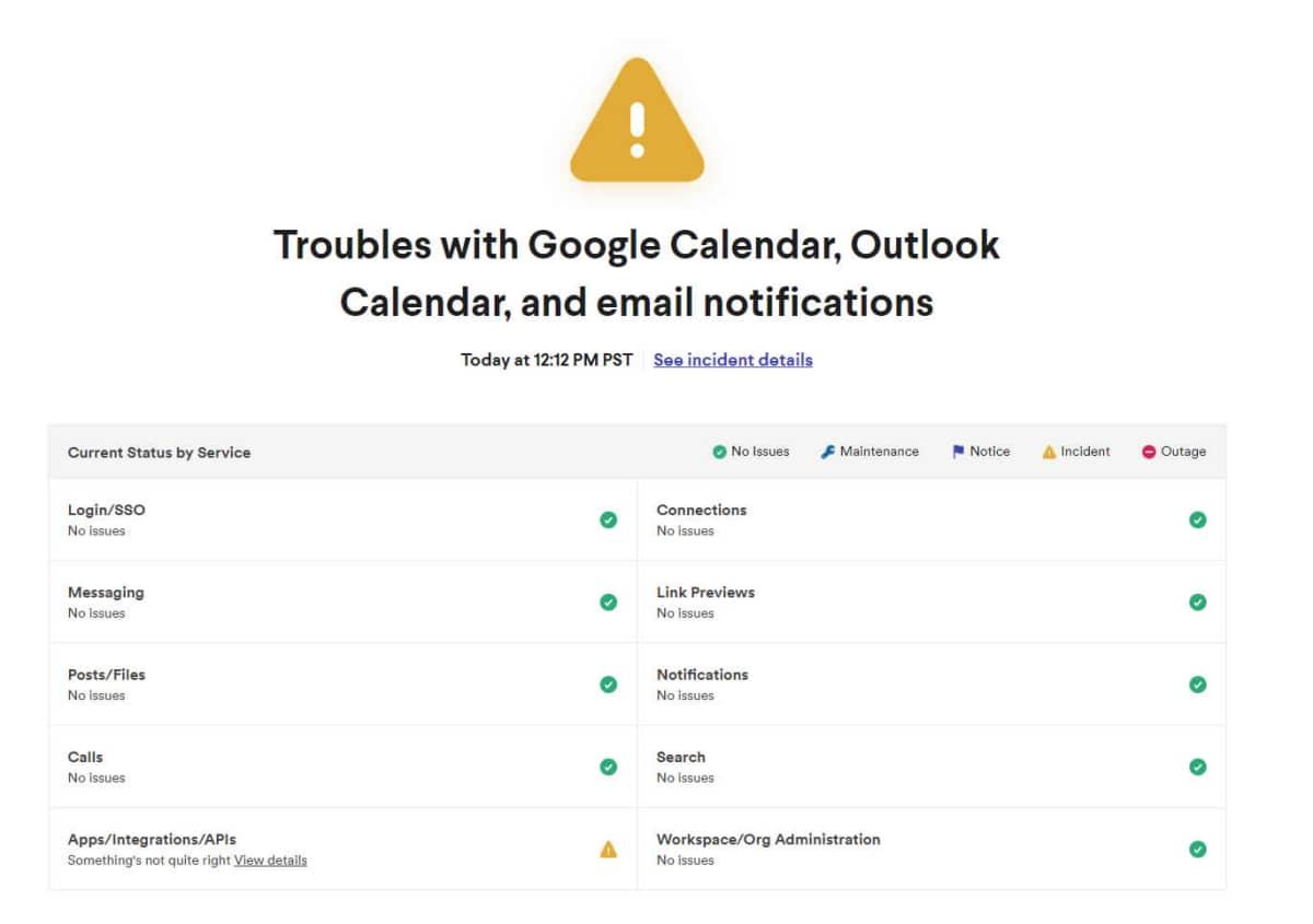 Página de status do Slack mostra que serviços voltaram porém que algumas integrações ainda estão com instabilidade.
