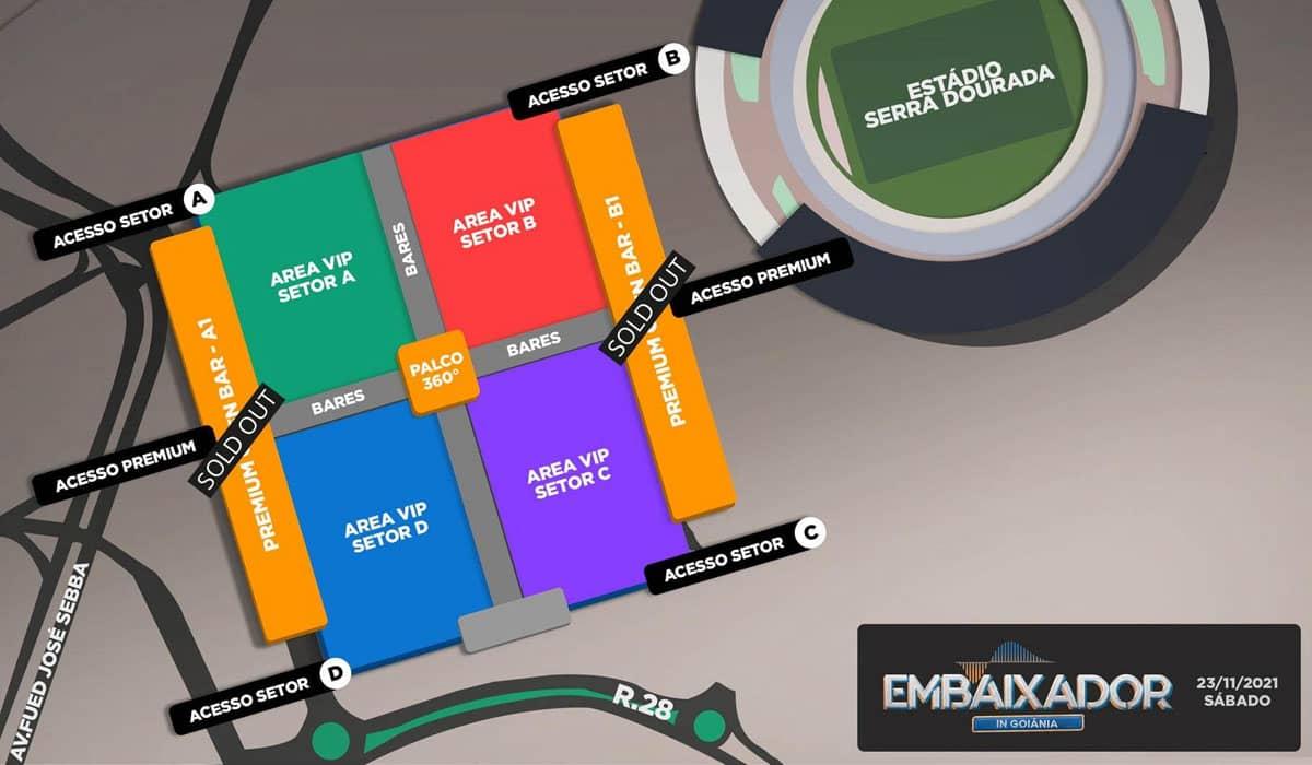 Mapa atualizado do show 'Embaixador in Goiânia'. Foto: Reprodução Badalapp
