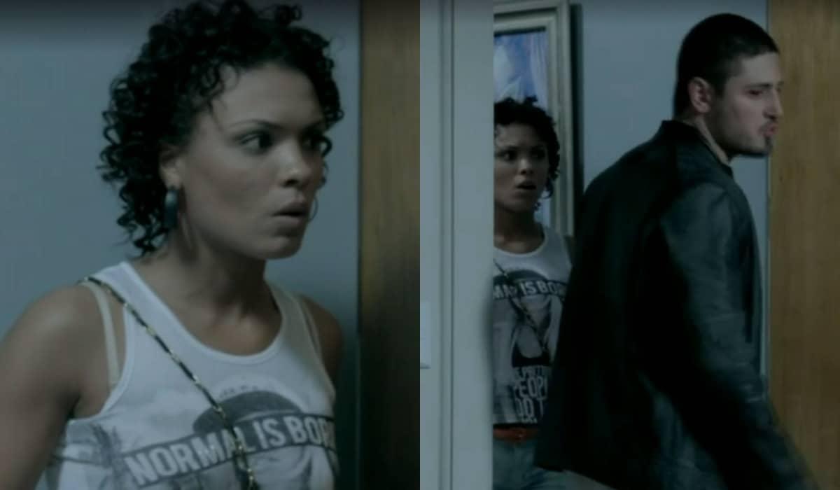 Kelly chega bem na hora que Maria Ísis expulsa o rapaz de casa. Foto: Globo
