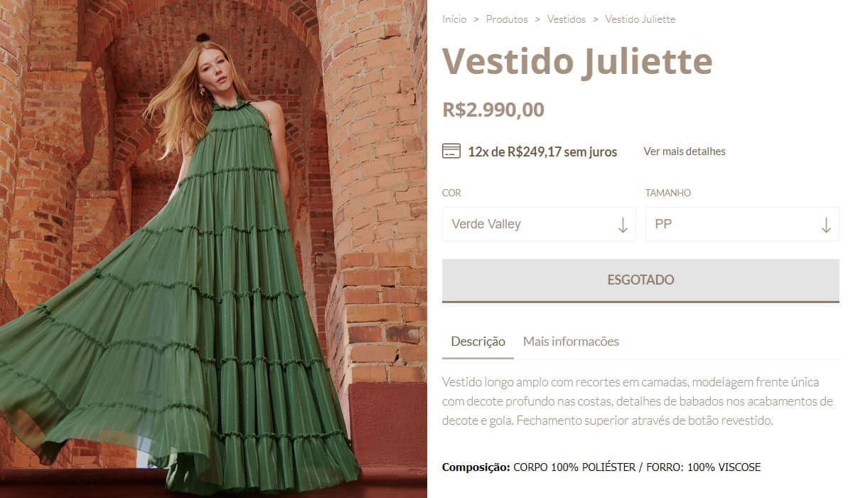 'Vestido Juliette' já esgotou na loja oficial da Oásis Resortwear