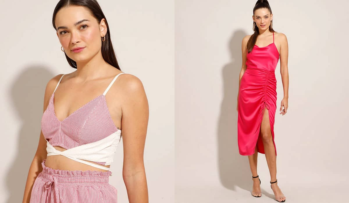 A regata cropped 'juliette' e o vestido slip dress 'juliette' com fenda podem ser comprados por R$ 89,99 e R$ 159,99, respectivamente